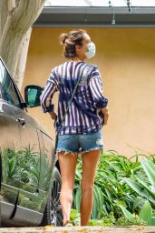 Alessandra Ambrosio in a Hand-Dyed and Embroidered Blouse and Denim Shorts - Malibu 06/16/2020