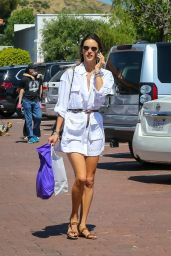 Alessandra Ambrosio in a White Shirt Dress - Malibu 06/12/2020