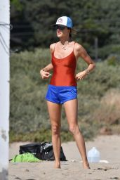 Alessandra Ambrosio - Playing Volleyball at the Beach 06/21/2020