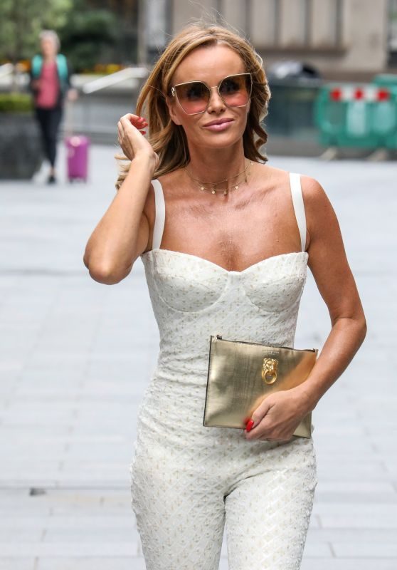 Amanda Holden in Corseted White Flared Jumpsuit 06/19/2020