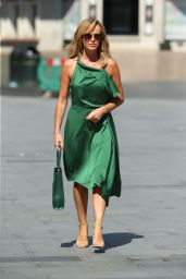 Amanda Holden in Green Satin Dress 06/26/2020