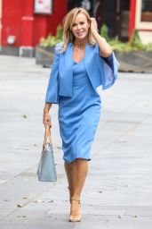 Amanda Holden Sports a Formal Blue Midi Dress and Matching Suit Jacket - London 06/12/2020