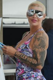 Amber Rose in a Plunging Bodycon Dress - Out in LA 06/20/2020