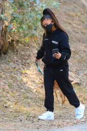 Ariana Grande in All-Black Sweats and White and Blue Nike Trainers 06/21/2020