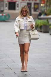 Ashley Roberts in a Cream Bouclé Two-Piece an Saint Laurent Handbag - London 06/30/2020