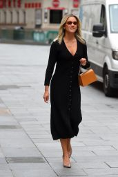 Ashley Roberts in a Plunging Black Midi Dress 06/08/2020