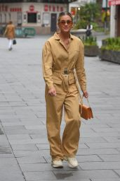 Ashley Roberts in Camel Boiler Suit and Trainers 06/10/2020
