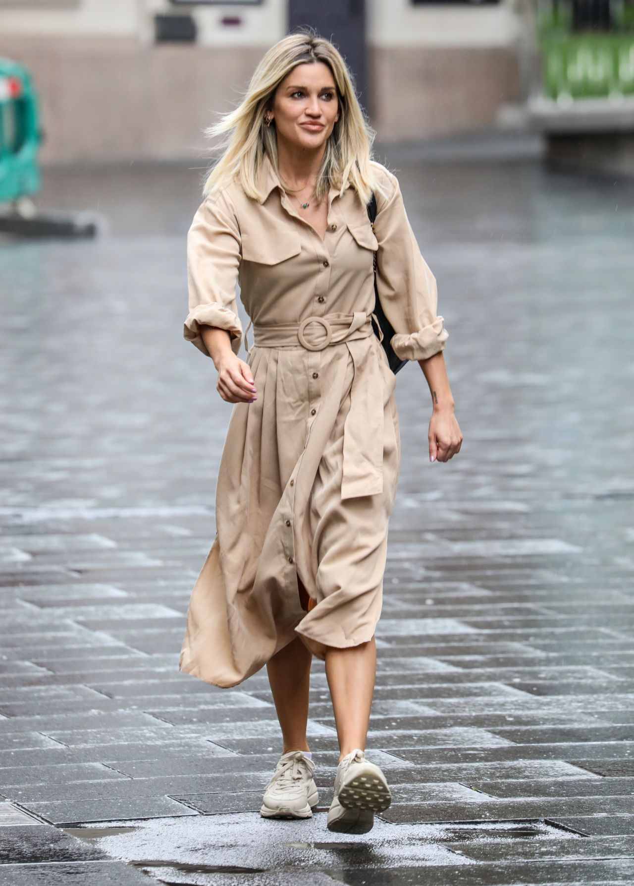 Ashley Roberts in Cream Belted Shirt
