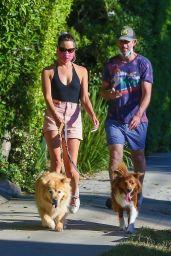 Aubrey Plaza in Shorts - Walking Her Dogs in Los Feliz 06/11/2020