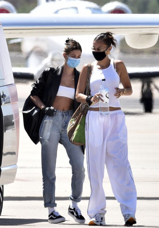 Bella Hadid and Hailey Bieber on Their Way Home From Sardinia 06/27/2020