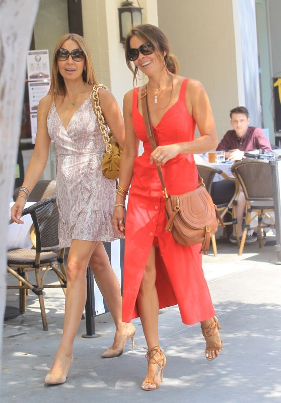 Brooke Burke in a Red Midi Dress - Beverly Hills 06/17/2020