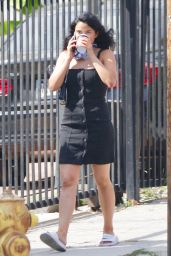 Camila Mendes in Black Sleeveless Dress 06/24/2020