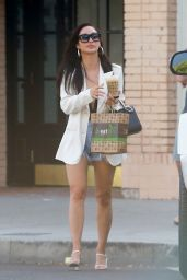 Cara Santana in Denim Cutoffs and a White Blazer - Kreation Organic Juicery in LA 06/15/2020