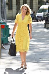 Charlotte Hawkins in a Sunny Yellow Lace Dress 06/26/2020