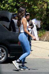 Eiza González  in a White Sleeveless Turtleneck Top and Light Blue Skinny Jeans 06/28/2020