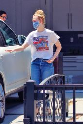 Elle Fanning in a Retro Drag Race T-Shirt - Los Angeles 06/16/2020