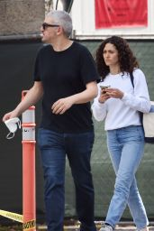 Emmy Rossum in Light Blue Jeans and a White Sweatshirt 06/06/2020