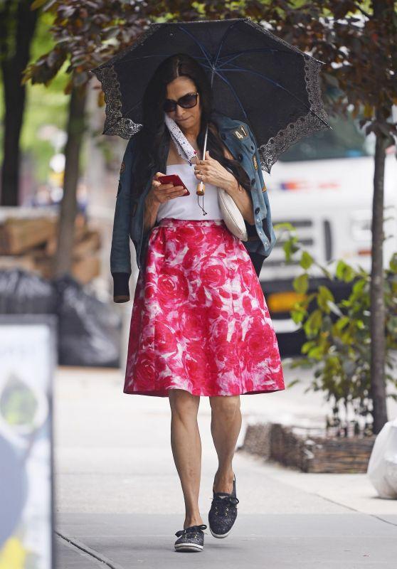 Famke Janssen in a Bright Summer Skirt in New York 06/02/2020