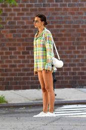 Irina Shayk in Oversize Pastel Plaid Shirt and cut-off jeans - NYC 06/05/2020