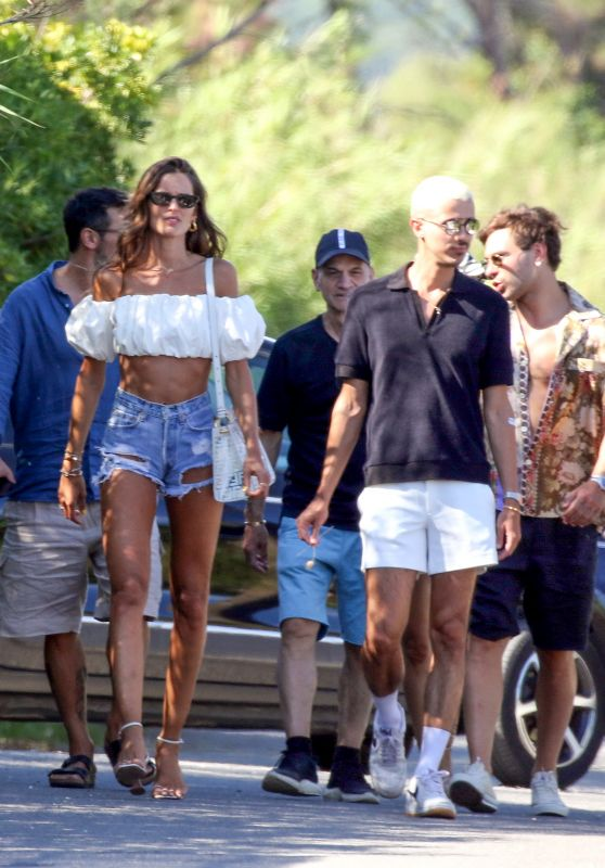 Izabel Goulart in White Crop Top and Tiny Denim Shorts - Saint-Tropez 06/08/2020