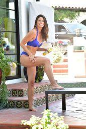 Jennifer Lahmers in a Blue Bikini on the Beach in Beverly Hills 06/19/2020