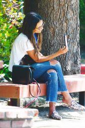Jordana Brewster - Checking Her Phone in LA 06/09/2020