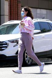 Katharine McPhee in Pink Tie-Dye Shirt and a Pair of Purple Leggings 06/20/2020