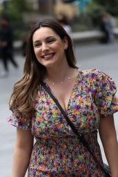 Kelly Brook Flashes Her Legs in Floral Mini Dress - London 06/19/2020