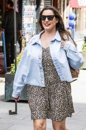 Kelly Brook in a Leopard Print Mini Dress and Denim Shirt 06/29/2020