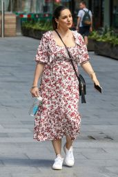 Kelly Brook in a Red and White Floral Dress 06/16/2020