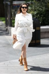 Kelly Brook in White Shirt Dress 06/22/2020