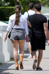 Kelly Brook Shows Off Her Legs in Distressed Shorts and a White Shirt Out in London 05/31/2020