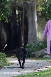 Laura Dern in a Purple Jacket - Walking Her Dog in Pacific Palisades 06/02/2020