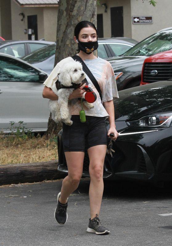 Lucy Hale - Walking Her Dog Elvis in LA 06/25/2020