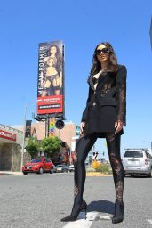 Megan Pormer - Posing in Front of Her Billboard on Sunset in Hollywood 06/04/2020