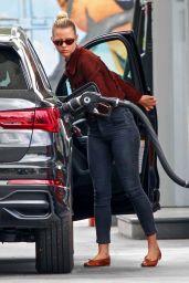 Mia Goth in Skinny Jeans - Pumping Gas in LA 06/12/2020