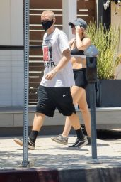 Miley Cyrus in Black Calvin Klein Sports Bra and Matching Shorts 06/04/2020