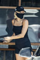 Miley Cyrus in Skimpy Bike Shorts and a Dark Tank Top - Calabasas 06/16/2020