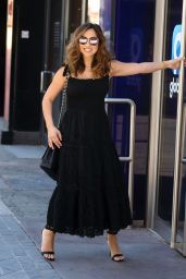 Myleene Klass in a Black Broderie Anglaise Dress and Classic Chanel Bag 06/02/2020