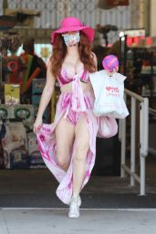Phoebe Price in Summer Dress at CVS in Studio City 06/15/2020