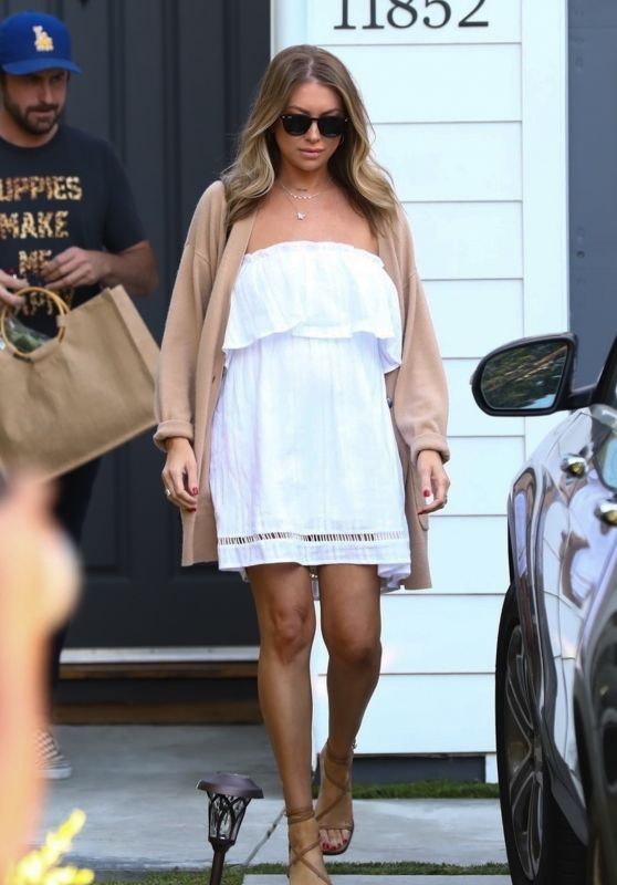 Stassi Schroeder in Flowing White Mini Dress and Strappy Heels - Los Angeles 06/24/2020