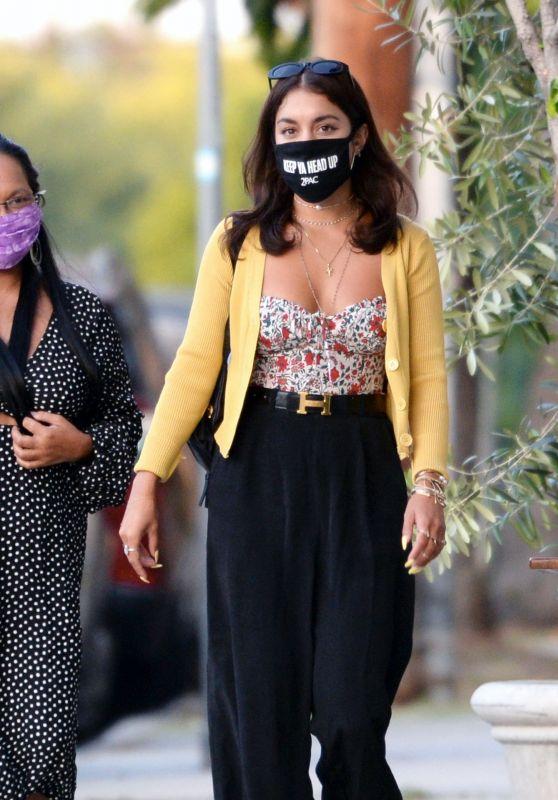 Vanessa Hudgens in Casual Outfit - Trattoria Farfalla in LA 06/17/2020