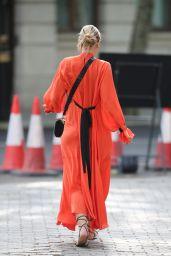 Vogue Williams in Flowing Orange Dress - London 06/07/2020
