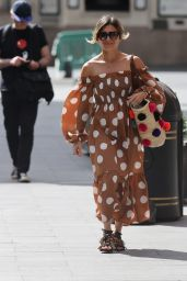Zoe Hardman in Polka-Dot Dress and Sandals - London 06/13/2020