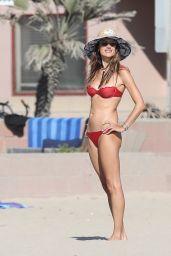 Alessandra Ambrosio in a Red Bikini - Beach in Marina del Rey 07/29/2020