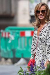 Amanda Holden in a Black and White Polka Dot Dress - London 07/01/2020