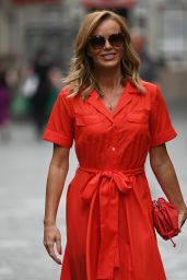 Amanda Holden in a Red Maxi Dress and Matching Heels- London 07/15/2020