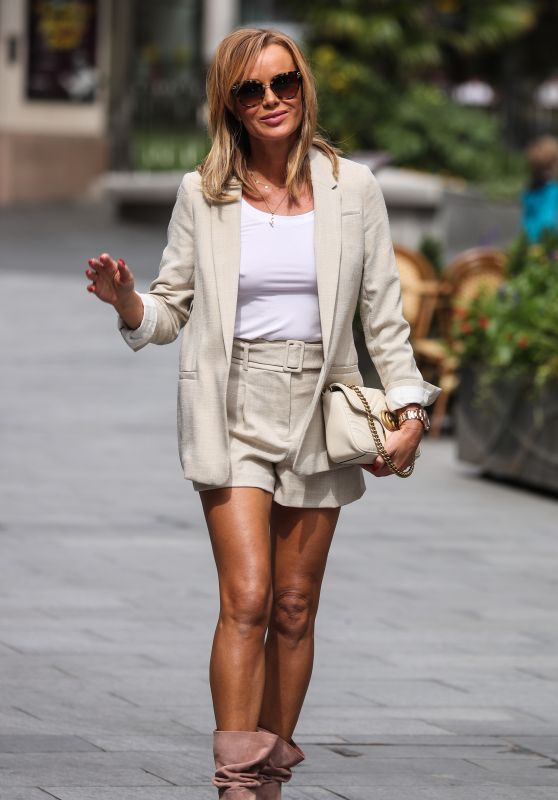 Amanda Holden in Shorts and Ankle Boots - London 07/14/2020