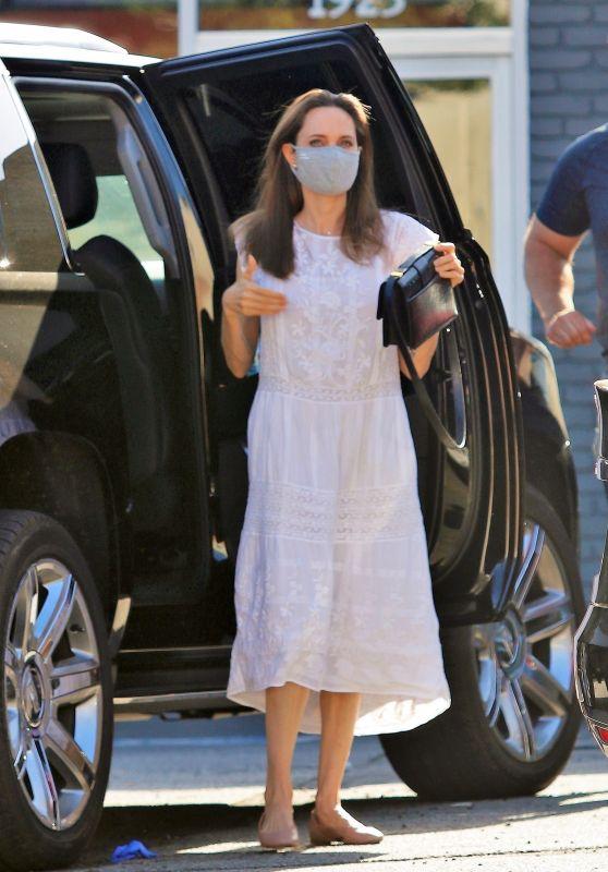 Angelina Jolie in a White Summer Dress - Los Feliz 07/01/2020