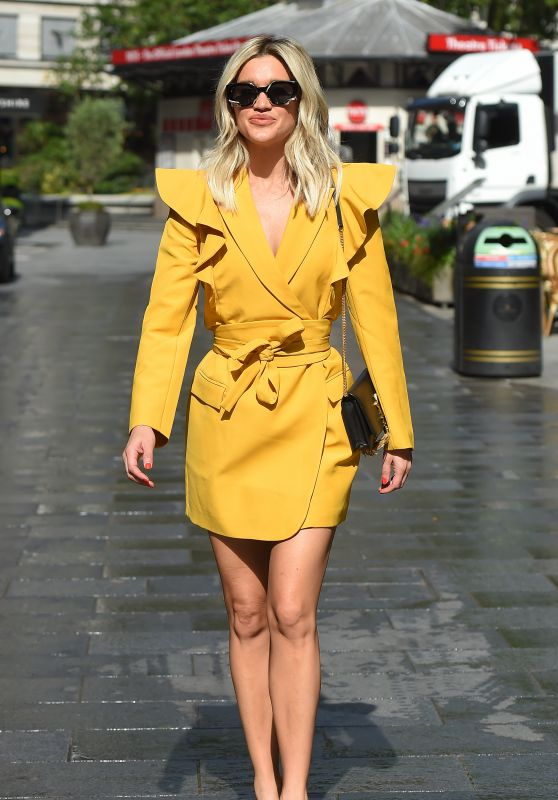 Ashley Roberts in a Canary Yellow Blazer Dress - Leaves the Heart Radio in London 07/17/2020